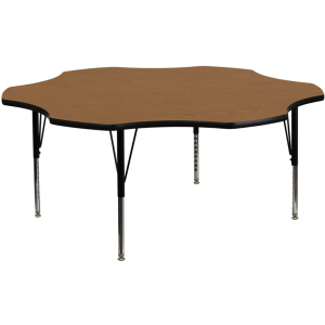 Wholesale 60'' Flower Oak Thermal Laminate Activity Table - Height Adjustable Short Legs