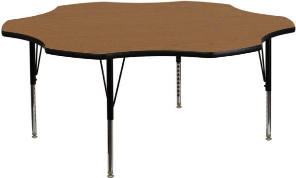 Wholesale 60'' Flower Oak Thermal Laminate Activity Table - Height Adjustable Short Legs
