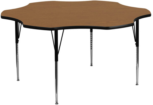 Wholesale 60'' Flower Oak Thermal Laminate Activity Table - Standard Height Adjustable Legs