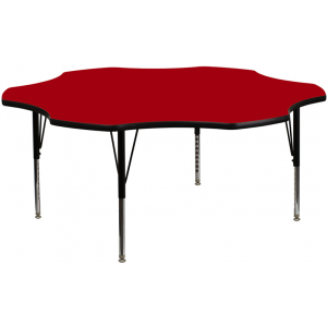 Wholesale 60'' Flower Red Thermal Laminate Activity Table - Height Adjustable Short Legs
