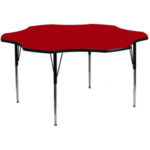 Wholesale 60'' Flower Red Thermal Laminate Activity Table - Standard Height Adjustable Legs