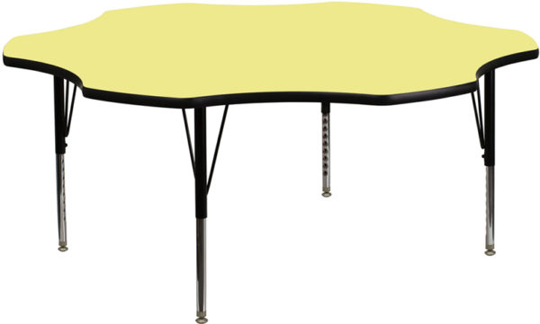 Wholesale 60'' Flower Yellow Thermal Laminate Activity Table - Height Adjustable Short Legs