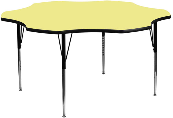 Wholesale 60'' Flower Yellow Thermal Laminate Activity Table - Standard Height Adjustable Legs