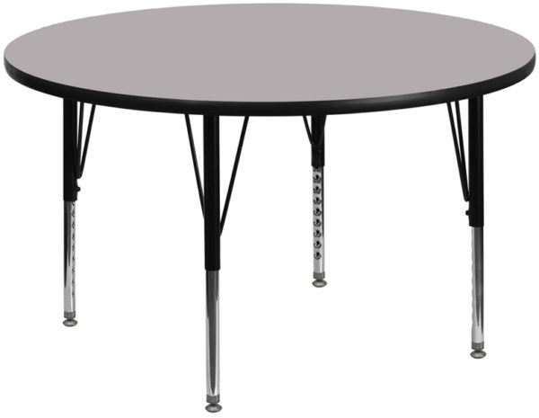 Wholesale 60'' Round Grey Thermal Laminate Activity Table - Height Adjustable Short Legs
