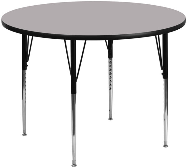Wholesale 60'' Round Grey Thermal Laminate Activity Table - Standard Height Adjustable Legs