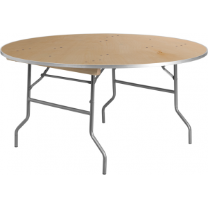 Wholesale 60'' Round HEAVY DUTY Birchwood Folding Banquet Table with METAL Edges