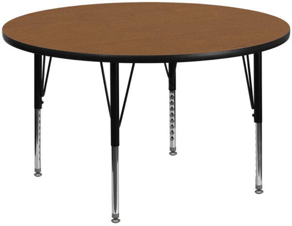 Wholesale 60'' Round Oak Thermal Laminate Activity Table - Height Adjustable Short Legs
