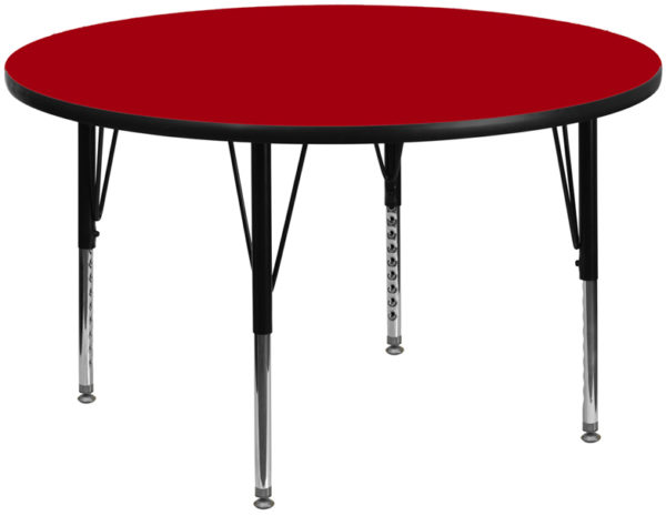 Wholesale 60'' Round Red Thermal Laminate Activity Table - Height Adjustable Short Legs