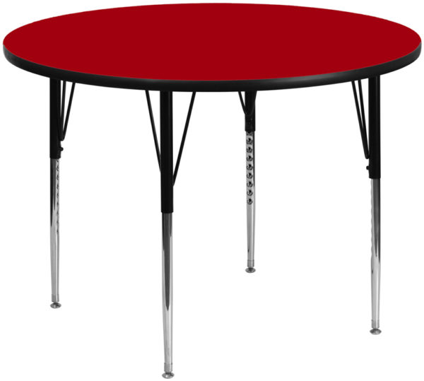 Wholesale 60'' Round Red Thermal Laminate Activity Table - Standard Height Adjustable Legs