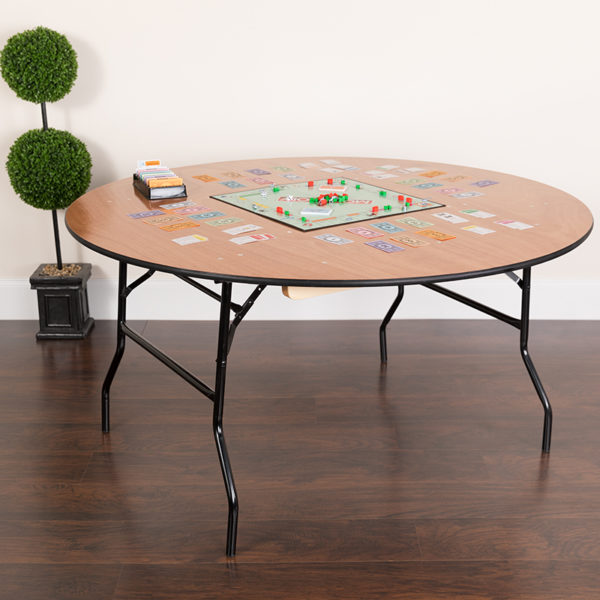 Lowest Price 60'' Round Wood Folding Banquet Table with Clear Coated Finished Top