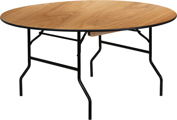 Wholesale 60'' Round Wood Folding Banquet Table with Clear Coated Finished Top