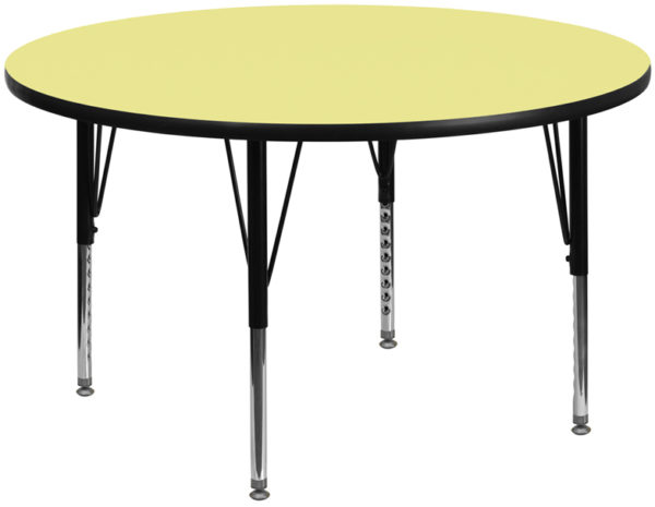 Wholesale 60'' Round Yellow Thermal Laminate Activity Table - Height Adjustable Short Legs
