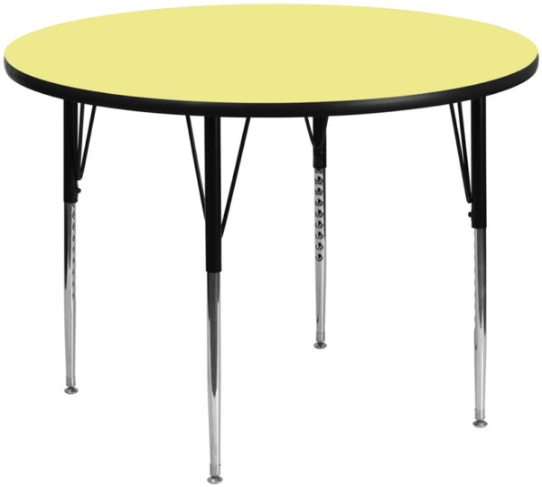 Wholesale 60'' Round Yellow Thermal Laminate Activity Table - Standard Height Adjustable Legs