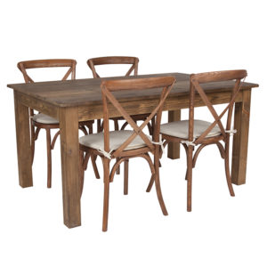 "Wholesale 60"" x 38"" Antique Rustic Farm Table Set with 4 Cross Back Chairs and Cushions"