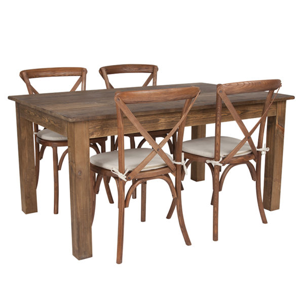 """Wholesale 60"""" x 38"""" Antique Rustic Farm Table Set with 4 Cross Back Chairs and Cushions"""