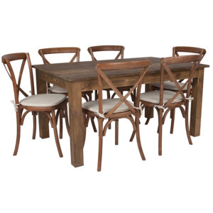 "Wholesale 60"" x 38"" Antique Rustic Farm Table Set with 6 Cross Back Chairs and Cushions"