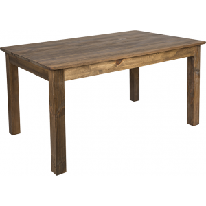 "Wholesale 60"" x 38"" Rectangular Antique Rustic Solid Pine Farm Dining Table"