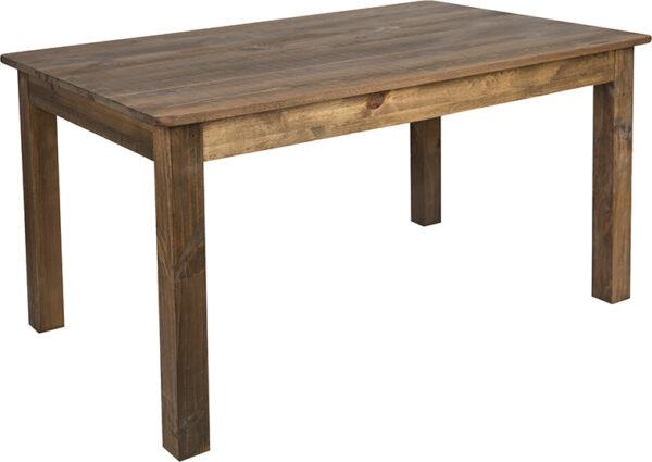 "Wholesale 60"" x 38"" Rectangular Antique Rustic Solid Pine Farm Dining Table"