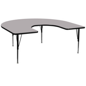 Wholesale 60''W x 66''L Horseshoe Grey Thermal Laminate Activity Table - Height Adjustable Short Legs
