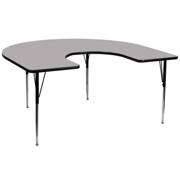 Wholesale 60''W x 66''L Horseshoe Grey Thermal Laminate Activity Table - Standard Height Adjustable Legs