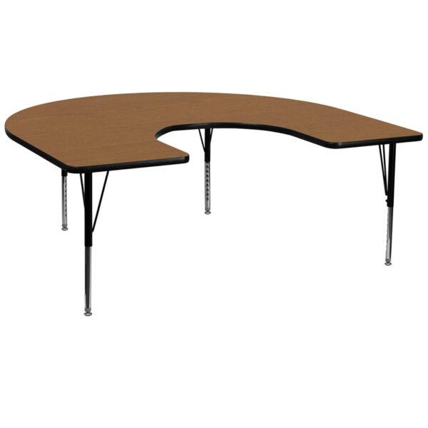 Wholesale 60''W x 66''L Horseshoe Oak Thermal Laminate Activity Table - Height Adjustable Short Legs