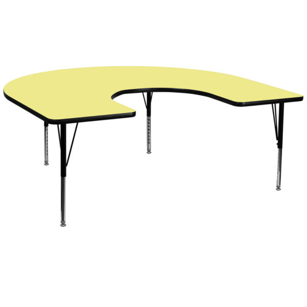Wholesale 60''W x 66''L Horseshoe Yellow Thermal Laminate Activity Table - Height Adjustable Short Legs