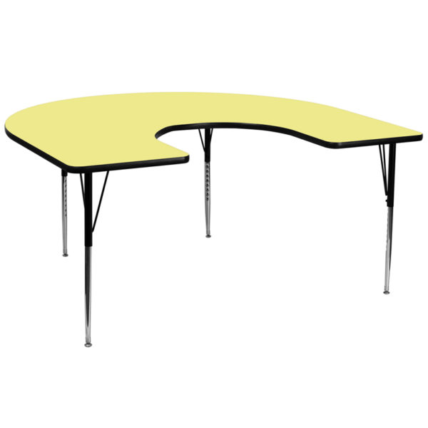 Wholesale 60''W x 66''L Horseshoe Yellow Thermal Laminate Activity Table - Standard Height Adjustable Legs