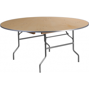 Wholesale 66'' Round HEAVY DUTY Birchwood Folding Banquet Table with METAL Edges