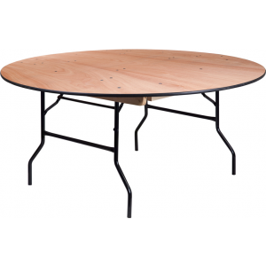 Wholesale 66'' Round Wood Folding Banquet Table with Clear Coated Finished Top