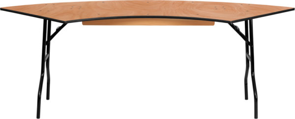 Wholesale 7.25 ft. x 2.5 ft. Serpentine Wood Folding Banquet Table