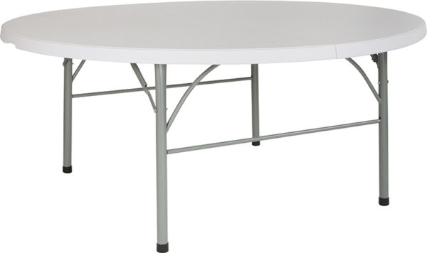 """Wholesale 72"""" Round Bi-Fold Granite White Plastic Banquet and Event Folding Table with Carrying Handle"""