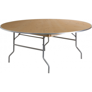 Wholesale 72'' Round HEAVY DUTY Birchwood Folding Banquet Table with METAL Edges