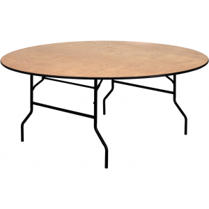 Wholesale 72'' Round Wood Folding Banquet Table with Clear Coated Finished Top