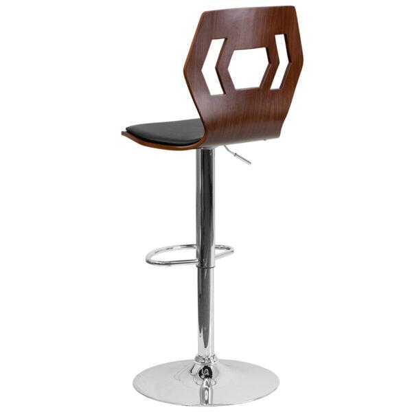 Height adjustable wood bar stool Walnut Wood Barstool