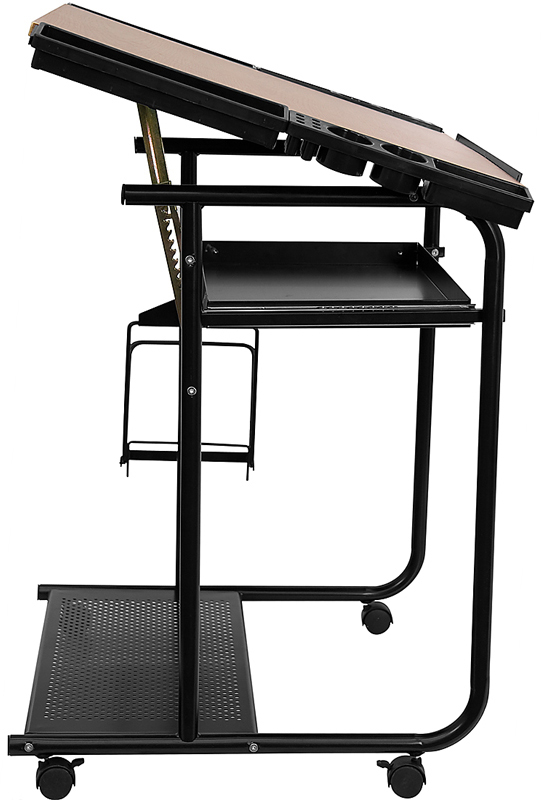 Lowest Price Adjustable Drawing and Drafting Table with Black Frame and Dual Wheel Casters