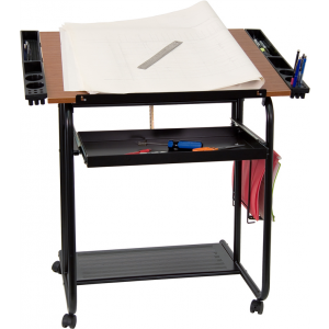 Wholesale Adjustable Drawing and Drafting Table with Black Frame and Dual Wheel Casters