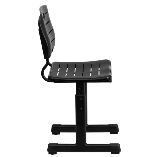Lowest Price Adjustable Height Black Student Chair with Black Pedestal Frame