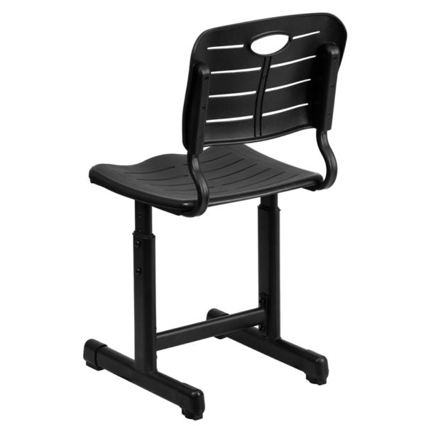 Classroom Chair with Sturdy Frame Black Plastic Student Chair