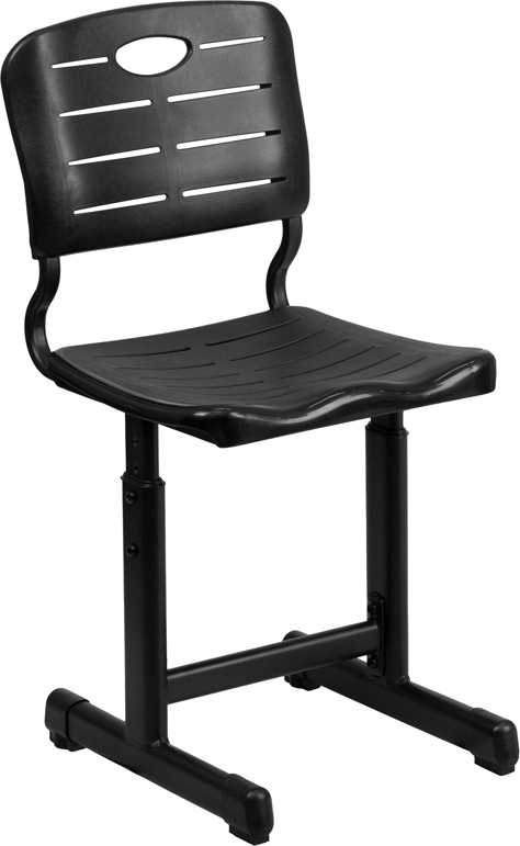 Wholesale Adjustable Height Black Student Chair with Black Pedestal Frame