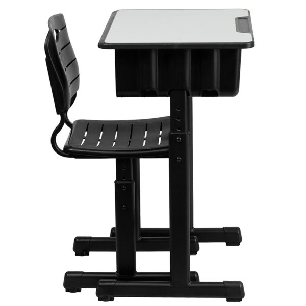Adjustable Height Open Book Box Desk with Two Book Bag Hooks Open Front Desk and Chair