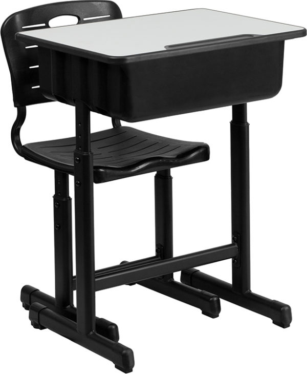 Wholesale Adjustable Height Student Desk and Chair with Black Pedestal Frame