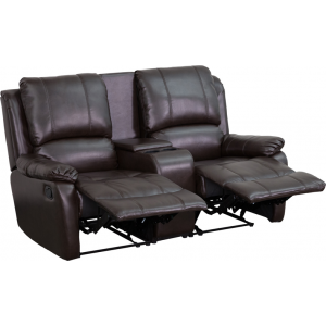 Wholesale Allure Series 2-Seat Reclining Pillow Back Brown Leather Theater Seating Unit with Cup Holders