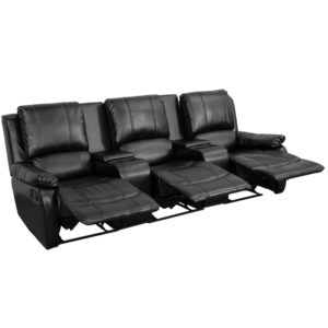 Wholesale Allure Series 3-Seat Reclining Pillow Back Black Leather Theater Seating Unit with Cup Holders