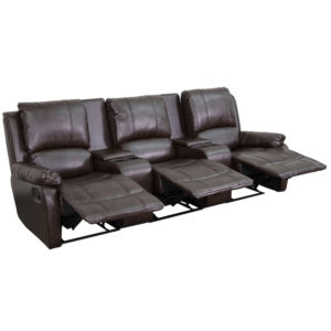 Wholesale Allure Series 3-Seat Reclining Pillow Back Brown Leather Theater Seating Unit with Cup Holders