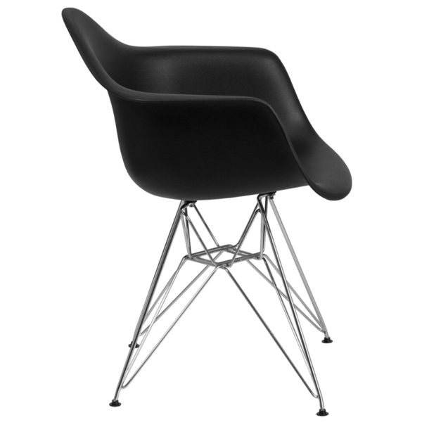 Lowest Price Alonza Series Black Plastic Chair with Chrome Base