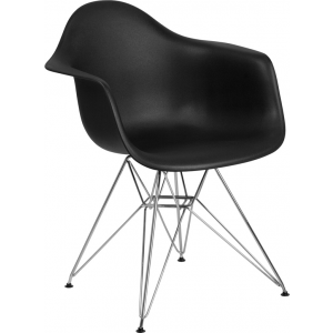Wholesale Alonza Series Black Plastic Chair with Chrome Base