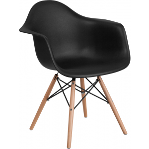 Wholesale Alonza Series Black Plastic Chair with Wooden Legs
