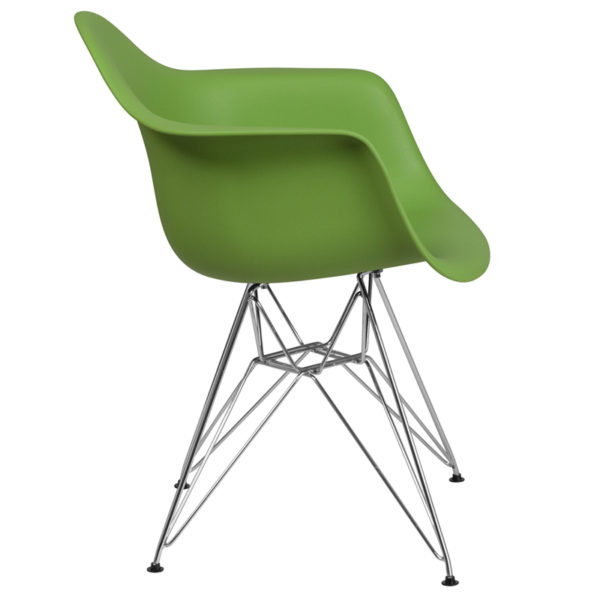 Lowest Price Alonza Series Green Plastic Chair with Chrome Base