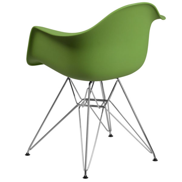 Accent Side Chair Green Plastic/Chrome Chair