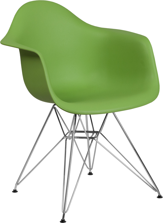 Wholesale Alonza Series Green Plastic Chair with Chrome Base